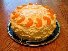 торт, украшенный мандаринами