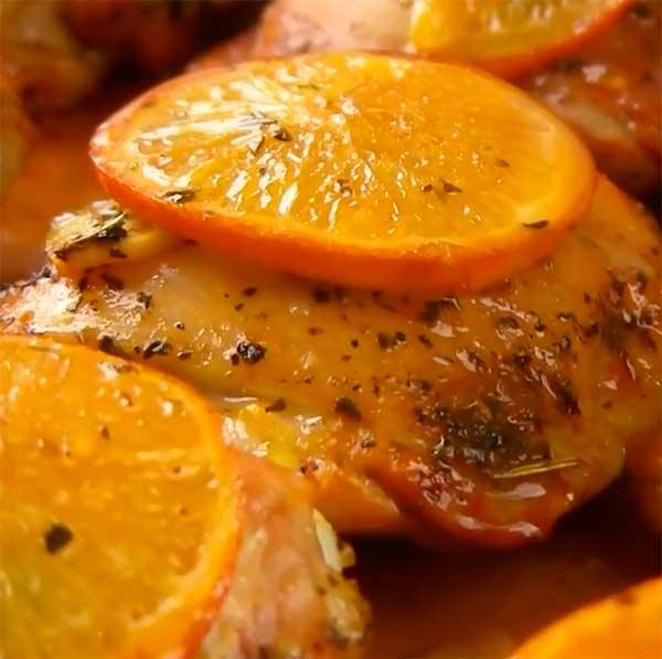 куриные бедра с апельсинами