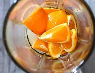 апельсин и сахар в блендере