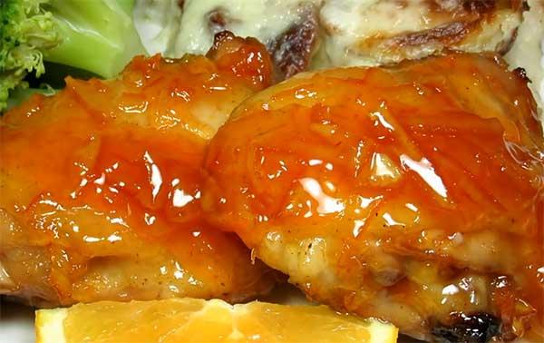 бедра курицы в апельсиновой глазури