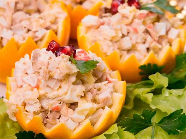 куриный салат с крабовыми палочками